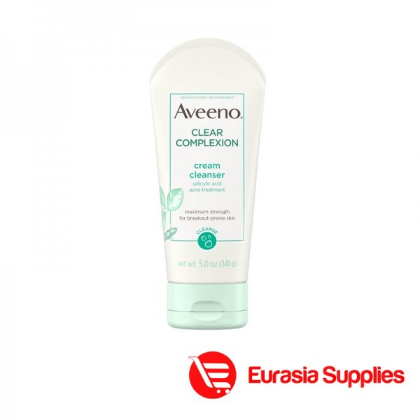 Aveeno Clear Complexion Cream Cleanser Salicylic Acid Acne Treatment 141G