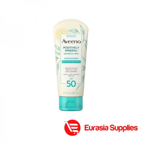 Aveeno Positively Mineral Sensitive Skin Sunscreen Sbroad Spectrum SPF 50 88ml